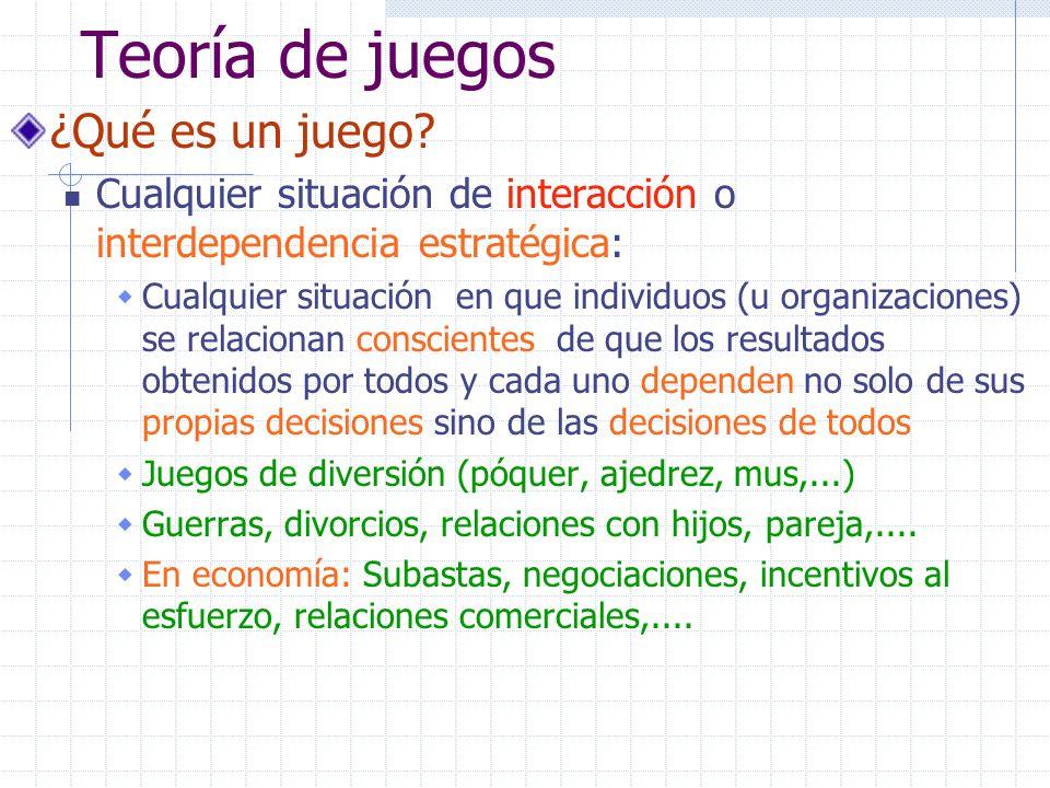 Teoría de juegos ¿Qué es un juego? Cualquier situación de interacción o interdependencia estratégica: Cualquier situación en que individuos (u organiz