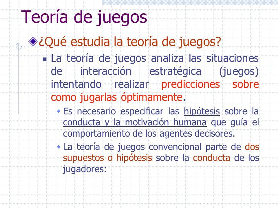 Teoría de juegos ¿Qué estudia la teoría de juegos? La teoría de juegos analiza las situaciones de interacción estratégica (juegos) intentando realizar