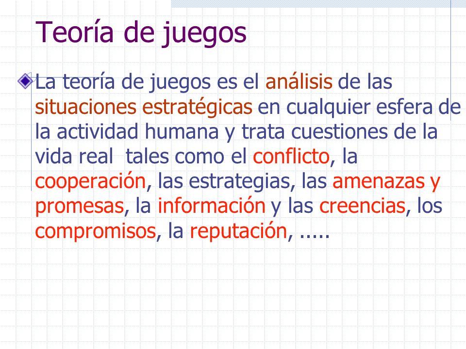 Teoría de juegos La teoría de juegos es el análisis de las situaciones estratégicas en cualquier esfera de la actividad humana y trata cuestiones de l