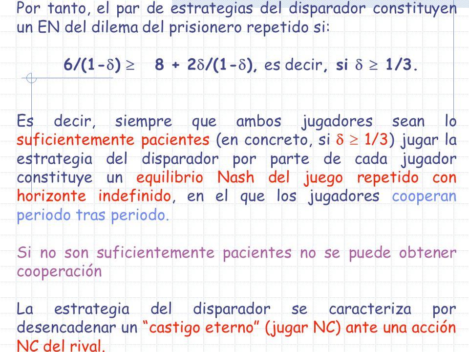 Por tanto, el par de estrategias del disparador constituyen un EN del dilema del prisionero repetido si: 6/(1- ) 8 + 2 /(1- ), es decir, si 1/3. Es de