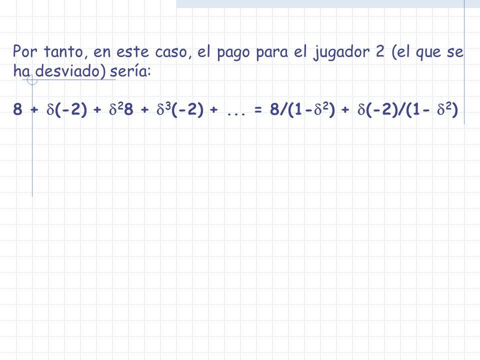 Por tanto, en este caso, el pago para el jugador 2 (el que se ha desviado) sería: 8 + (-2) + 2 8 + 3 (-2) +... = 8/(1- 2 ) + (-2)/(1- 2 )
