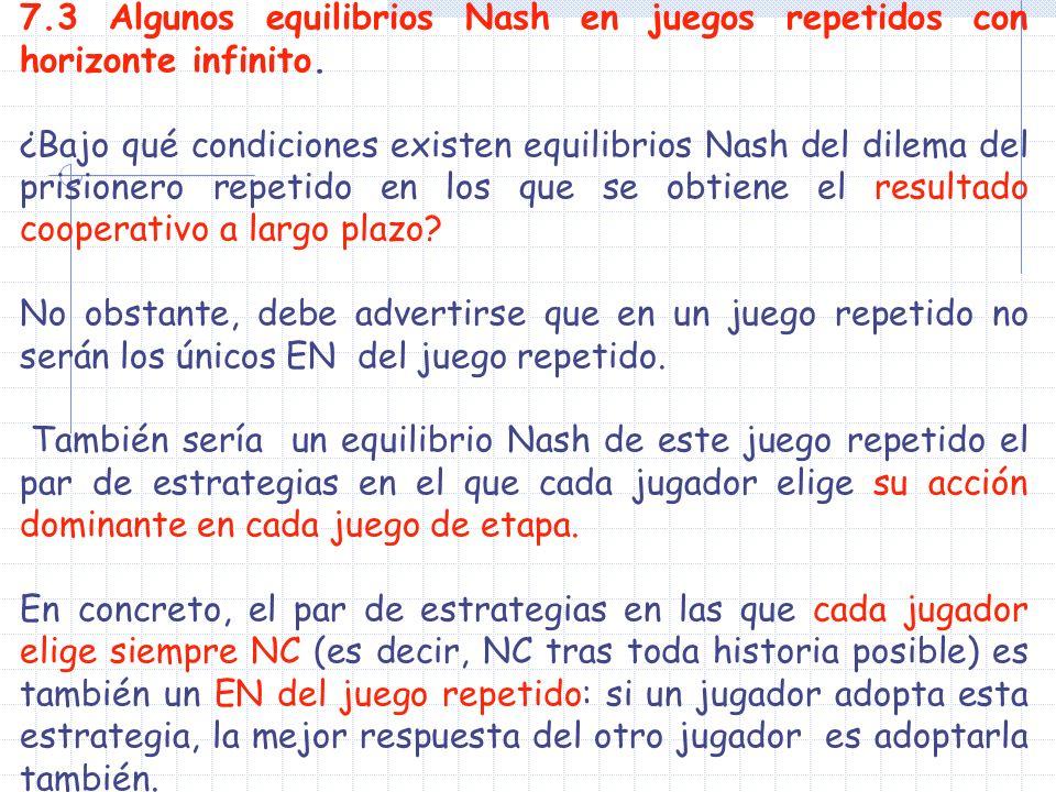 7.3 Algunos equilibrios Nash en juegos repetidos con horizonte infinito. ¿Bajo qué condiciones existen equilibrios Nash del dilema del prisionero repe