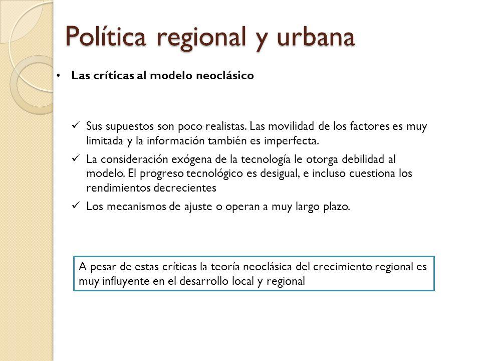 Política regional y urbana Las críticas al modelo neoclásico Sus supuestos son poco realistas. Las movilidad de los factores es muy limitada y la info