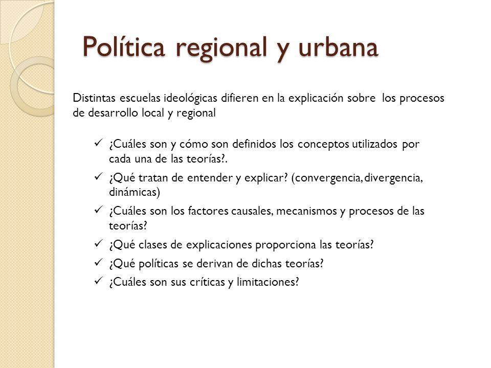 Política regional y urbana Distintas escuelas ideológicas difieren en la explicación sobre los procesos de desarrollo local y regional ¿Cuáles son y c