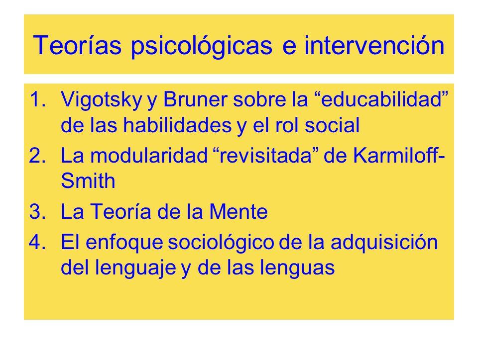 Teorías psicológicas e intervención 1.Vigotsky y Bruner sobre la educabilidad de las habilidades y el rol social 2.La modularidad revisitada de Karmil