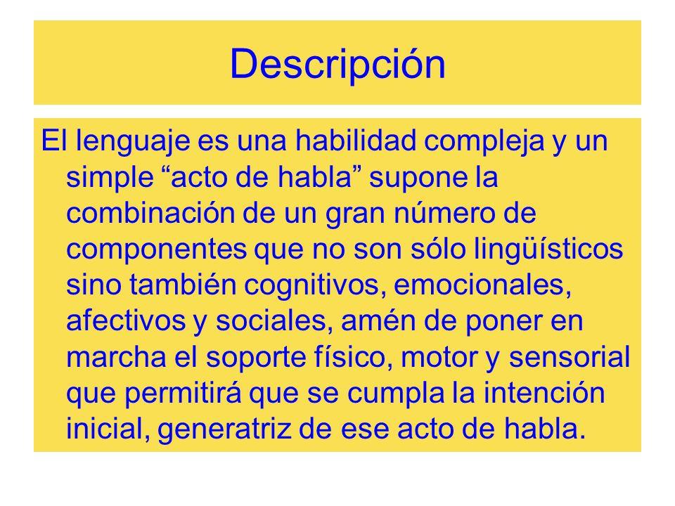 Descripción El lenguaje es una habilidad compleja y un simple acto de habla supone la combinación de un gran número de componentes que no son sólo lin