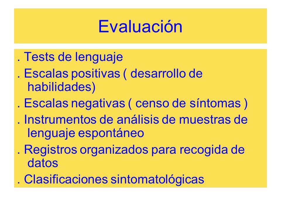 Evaluación. Tests de lenguaje. Escalas positivas ( desarrollo de habilidades). Escalas negativas ( censo de síntomas ). Instrumentos de análisis de mu