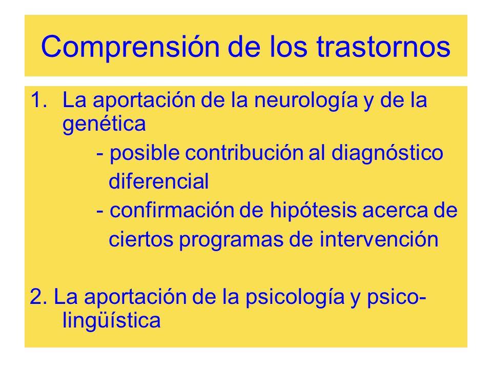 Comprensión de los trastornos 1.La aportación de la neurología y de la genética - posible contribución al diagnóstico diferencial - confirmación de hi