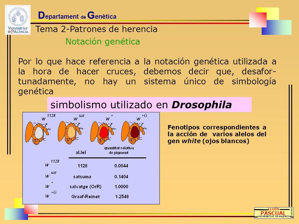 D epartament de G enètica Tema 2-Patrones de herencia Notación genética LLUÍS PASCUAL UNIVERSITAT DE VALÈNCIA 20032003 Por lo que hace referencia a la