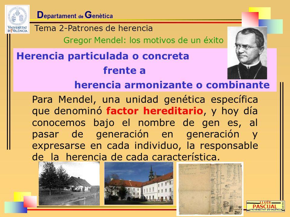 D epartament de G enètica Tema 2-Patrones de herencia Gregor Mendel: los motivos de un éxito LLUÍS PASCUAL UNIVERSITAT DE VALÈNCIA 20032003 Herencia p