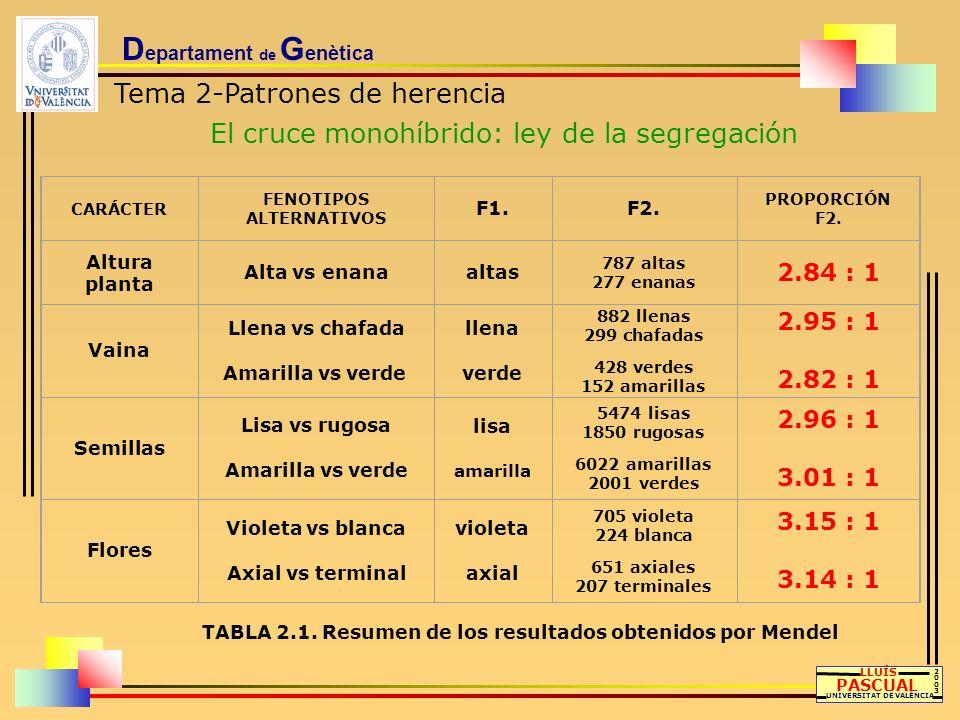 D epartament de G enètica Tema 2-Patrones de herencia El cruce monohíbrido: ley de la segregación LLUÍS PASCUAL UNIVERSITAT DE VALÈNCIA 20032003 CARÁC
