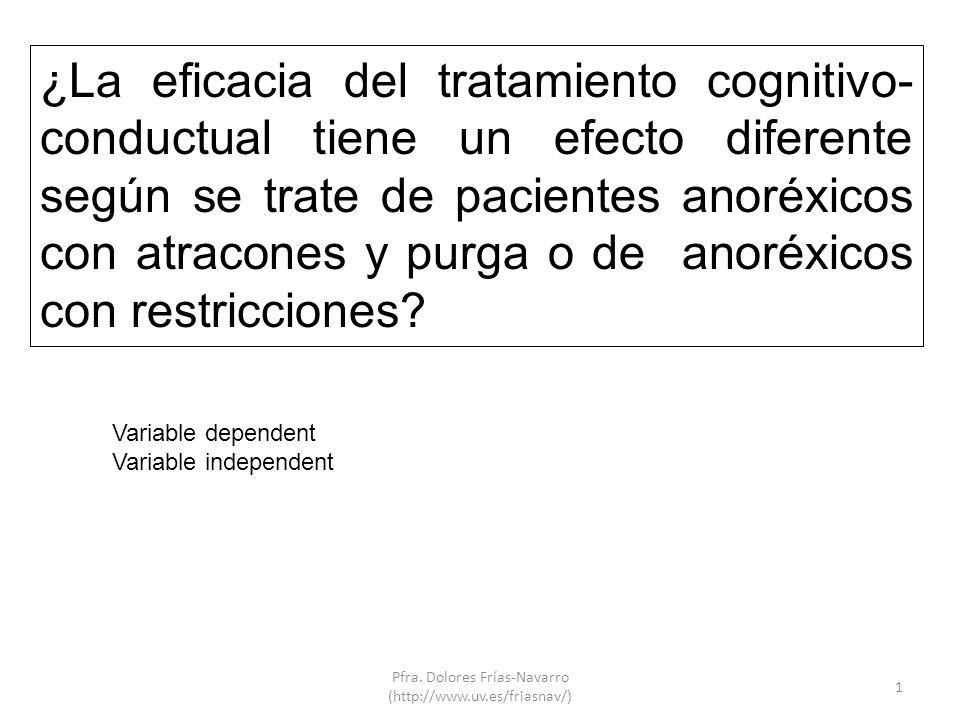 1 ¿La eficacia del tratamiento cognitivo- conductual tiene un efecto diferente según se trate de pacientes anoréxicos con atracones y purga o de anoréxicos con restricciones.