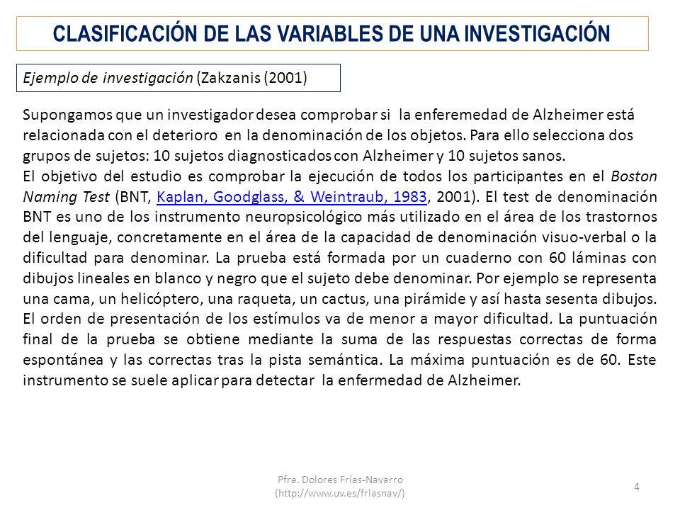 CLASIFICACIÓN DE LAS VARIABLES DE UNA INVESTIGACIÓN Supongamos que un investigador desea comprobar si la enferemedad de Alzheimer está relacionada con el deterioro en la denominación de los objetos.