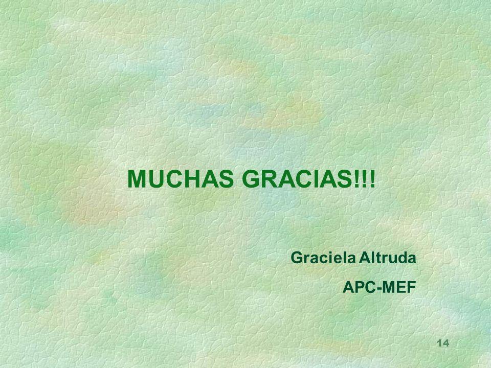 14 MUCHAS GRACIAS!!! Graciela Altruda APC-MEF