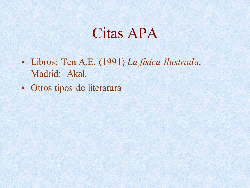 Citas APA Libros: Ten A.E. (1991) La física Ilustrada. Madrid: Akal. Otros tipos de literatura