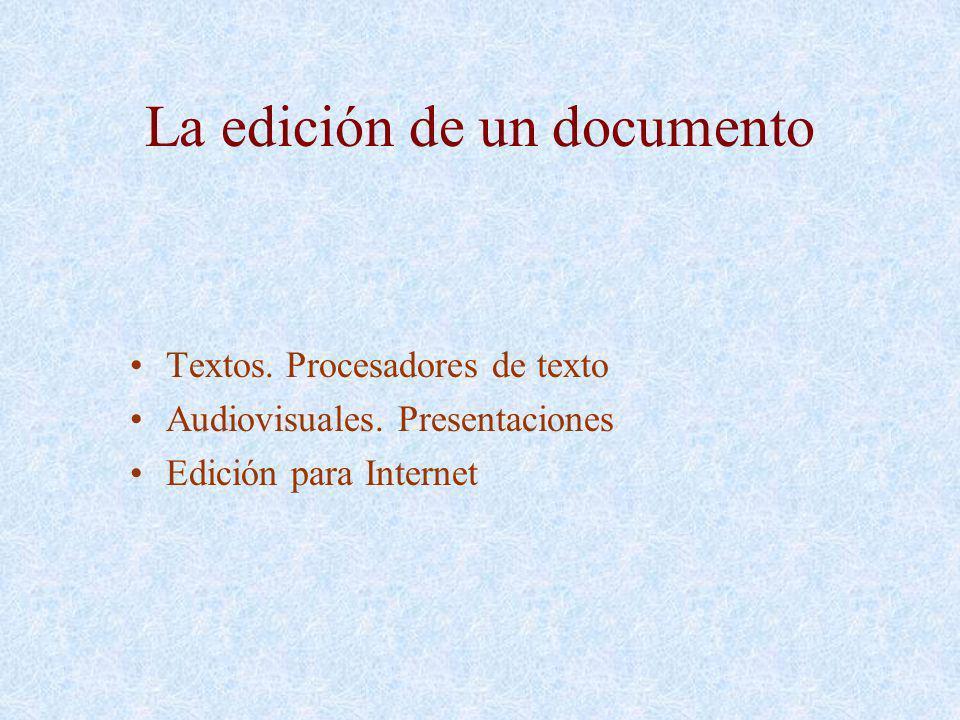 La edición de un documento Textos. Procesadores de texto Audiovisuales. Presentaciones Edición para Internet