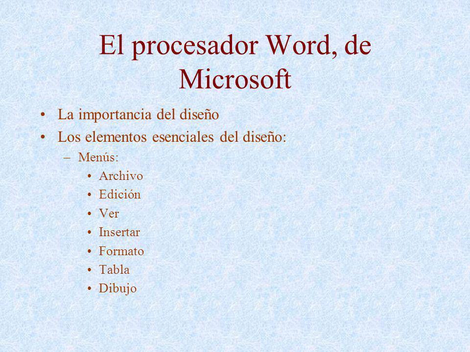 El procesador Word, de Microsoft La importancia del diseño Los elementos esenciales del diseño: –Menús: Archivo Edición Ver Insertar Formato Tabla Dib