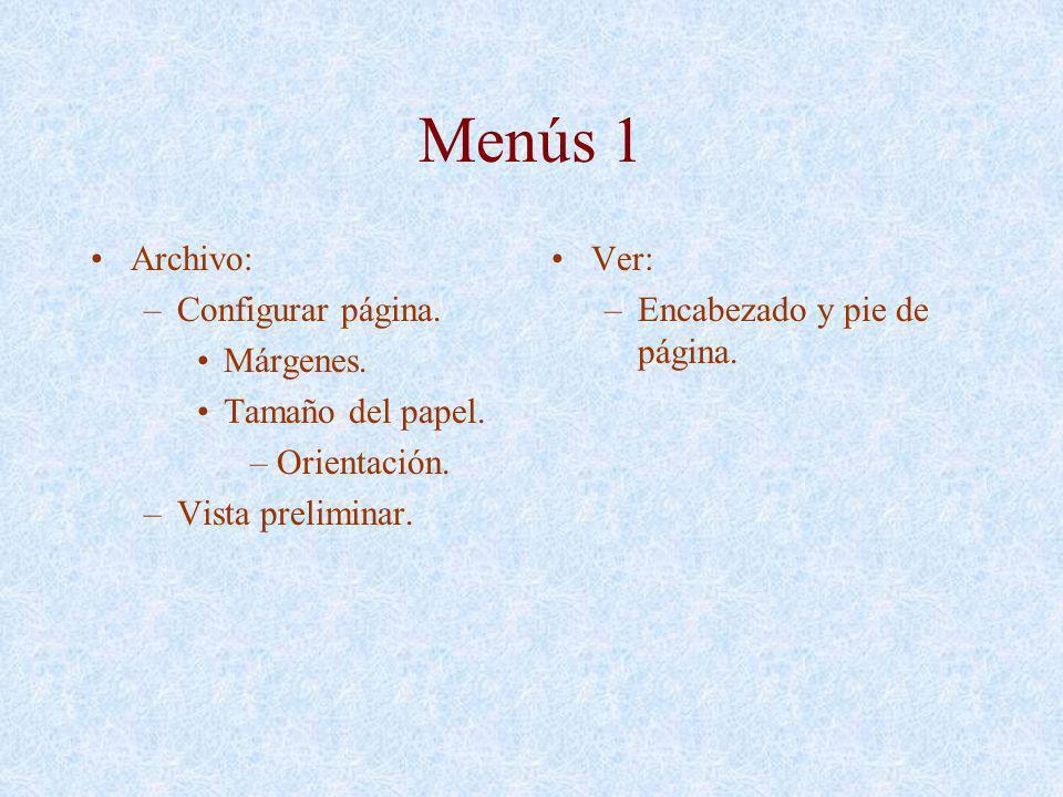Menús 1 Archivo: –Configurar página. Márgenes. Tamaño del papel. –Orientación. –Vista preliminar. Ver: –Encabezado y pie de página.