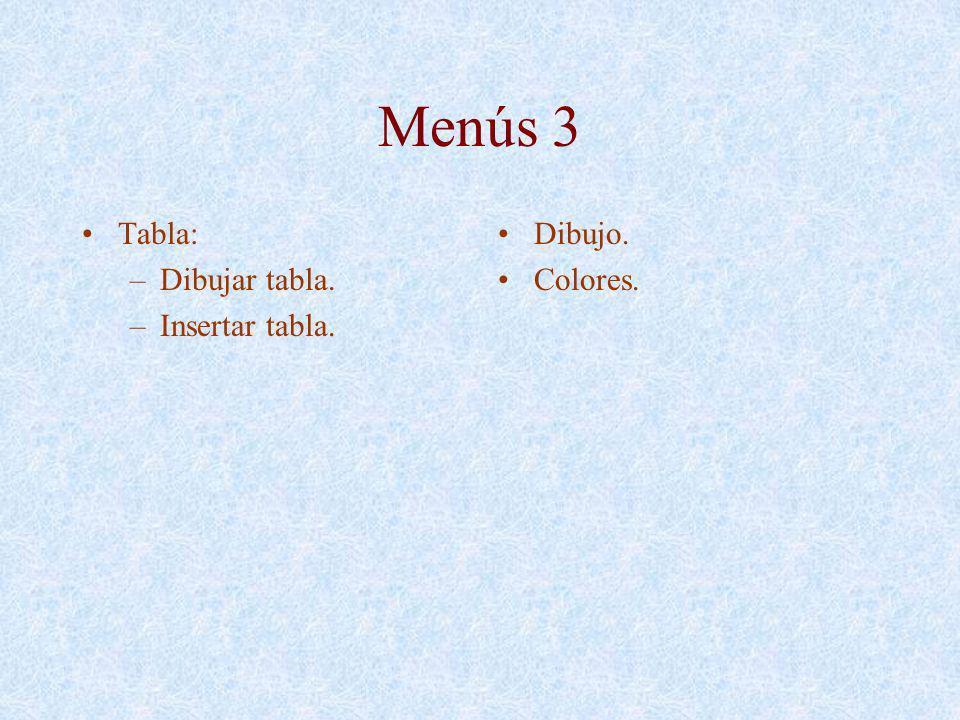 Menús 3 Tabla: –Dibujar tabla. –Insertar tabla. Dibujo. Colores.