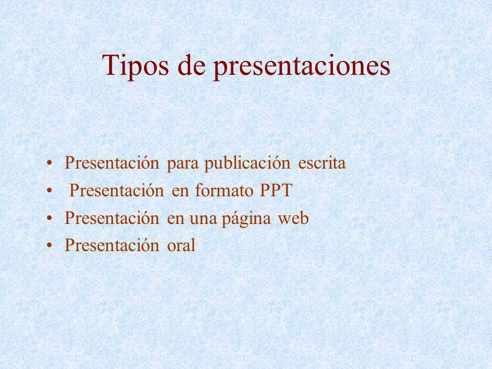 Tipos de presentaciones Presentación para publicación escrita Presentación en formato PPT Presentación en una página web Presentación oral