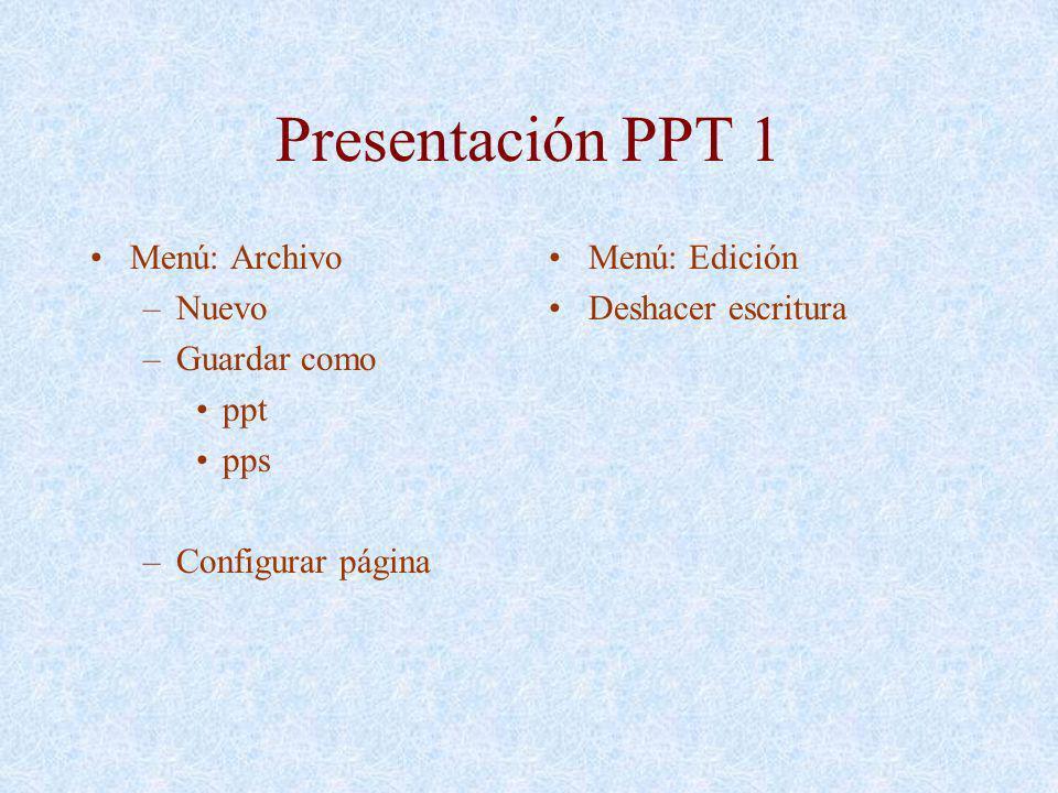 Presentación PPT 1 Menú: Archivo –Nuevo –Guardar como ppt pps –Configurar página Menú: Edición Deshacer escritura