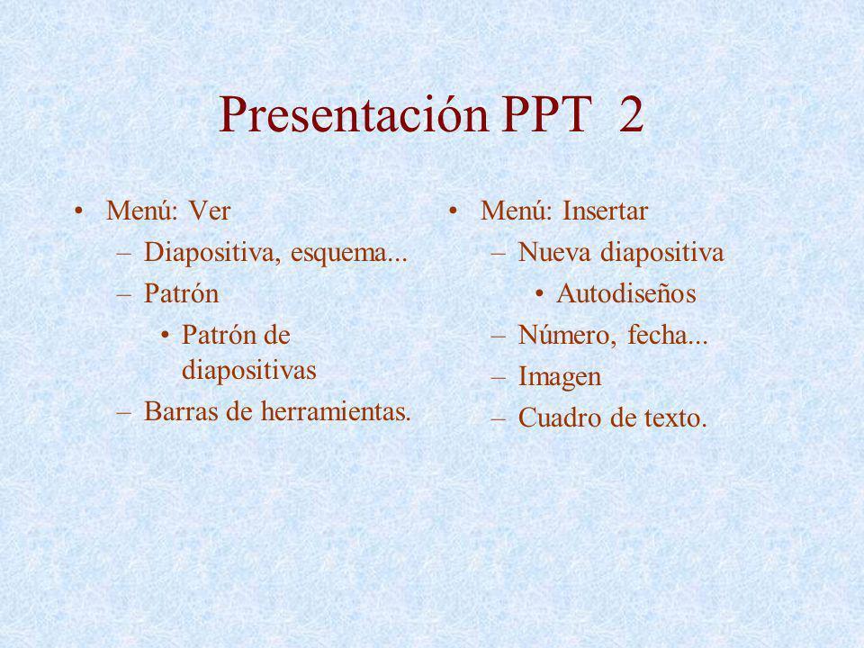Presentación PPT 2 Menú: Ver –Diapositiva, esquema... –Patrón Patrón de diapositivas –Barras de herramientas. Menú: Insertar –Nueva diapositiva Autodi
