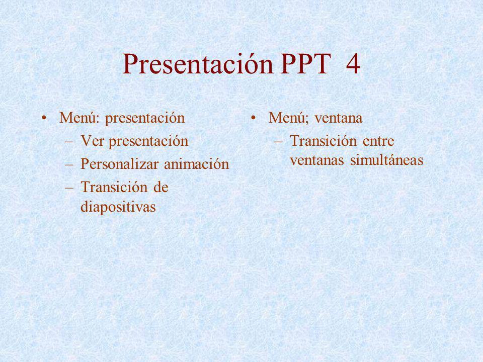 Presentación PPT 4 Menú: presentación –Ver presentación –Personalizar animación –Transición de diapositivas Menú; ventana –Transición entre ventanas s