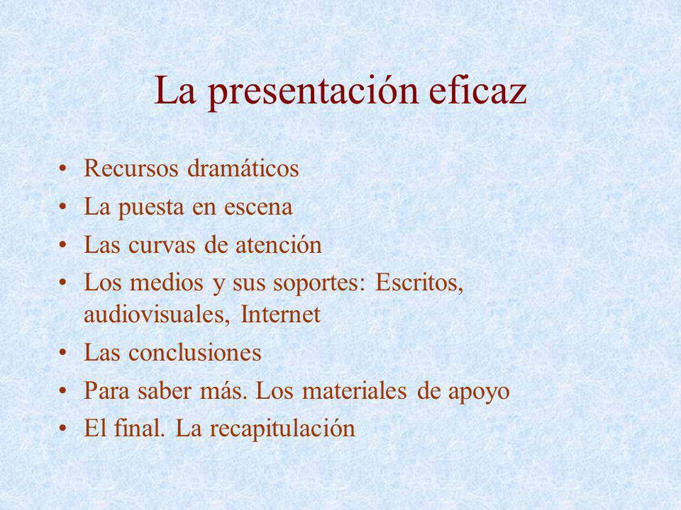 La presentación eficaz Recursos dramáticos La puesta en escena Las curvas de atención Los medios y sus soportes: Escritos, audiovisuales, Internet Las