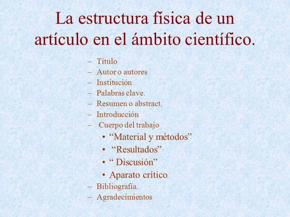 La estructura física de un artículo en el ámbito científico. –Título –Autor o autores –Institución –Palabras clave. –Resumen o abstract. –Introducción