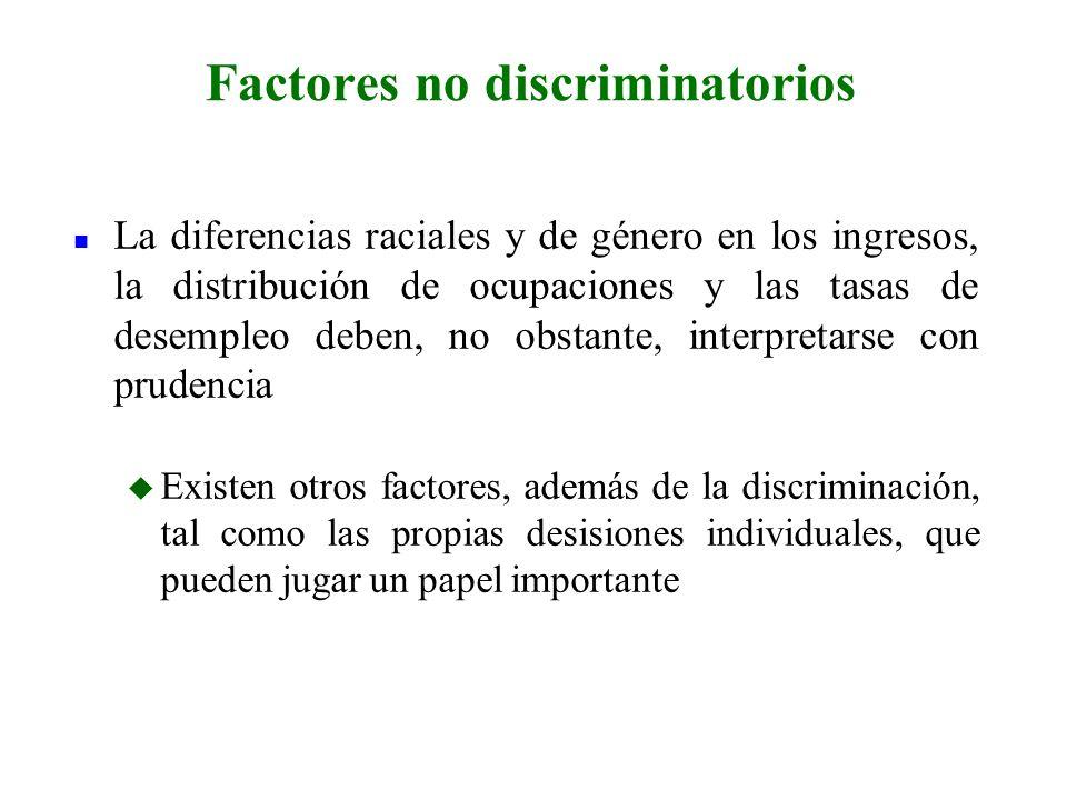 n La diferencias raciales y de género en los ingresos, la distribución de ocupaciones y las tasas de desempleo deben, no obstante, interpretarse con p