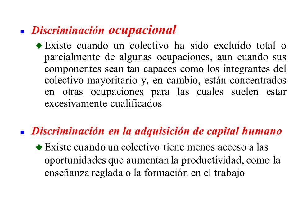 n Discriminación ocupacional u Existe cuando un colectivo ha sido excluído total o parcialmente de algunas ocupaciones, aun cuando sus componentes sea