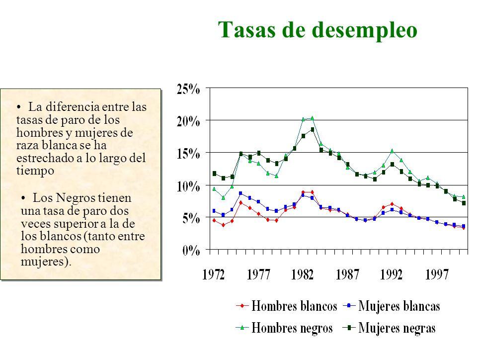 Tasas de desempleo La diferencia entre las tasas de paro de los hombres y mujeres de raza blanca se ha estrechado a lo largo del tiempo Los Negros tie