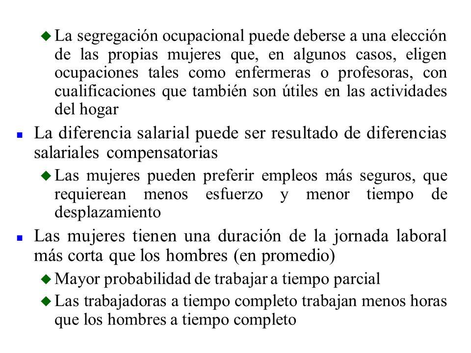 u La segregación ocupacional puede deberse a una elección de las propias mujeres que, en algunos casos, eligen ocupaciones tales como enfermeras o pro