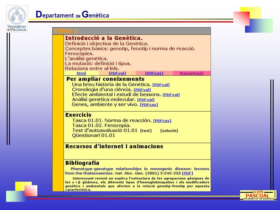 D epartament de G enètica LLUÍS PASCUAL UNIVERSITAT DE VALÈNCIA 20032003