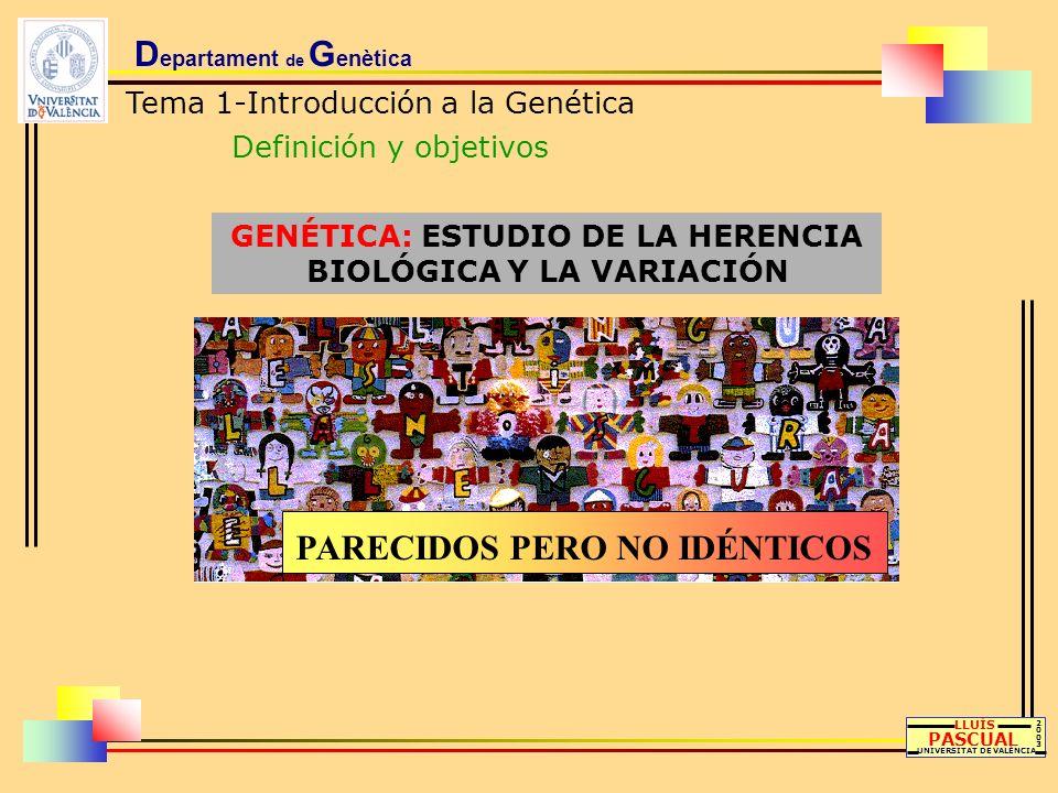 D epartament de G enètica Tema 1-Introducción a la Genética Definición y objetivos GENÉTICA: ESTUDIO DE LA HERENCIA BIOLÓGICA Y LA VARIACIÓN LLUÍS PAS