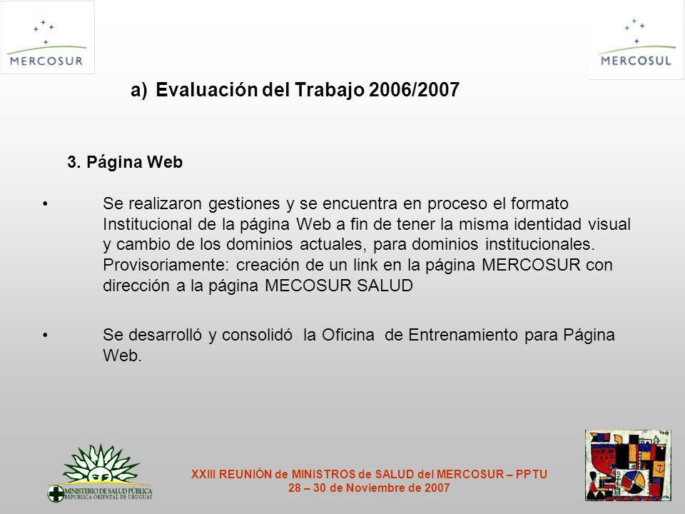a) Evaluación del Trabajo 2006/2007 3.