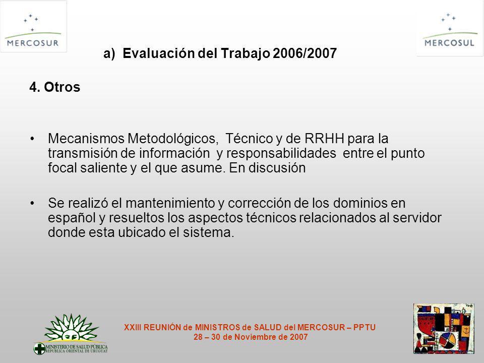 a) Evaluación del Trabajo 2006/2007 4.