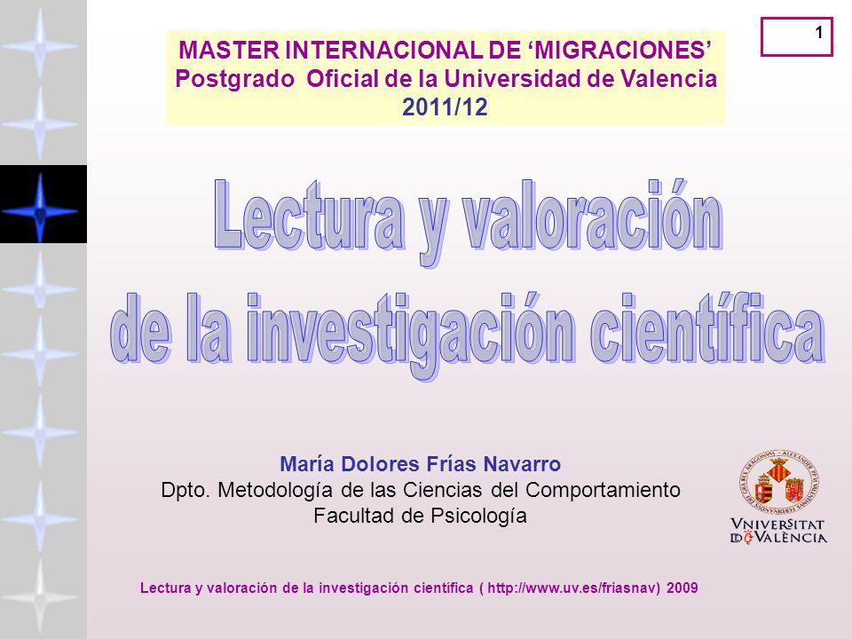 Lectura y valoración de la investigación científica ( http://www.uv.es/friasnav) 32 http://www.accesowok.fecyt.es/