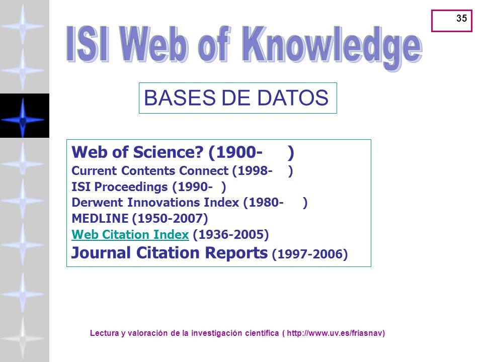 Lectura y valoración de la investigación científica ( http://www.uv.es/friasnav) 35 BASES DE DATOS Web of Science? (1900- ) Current Contents Connect (