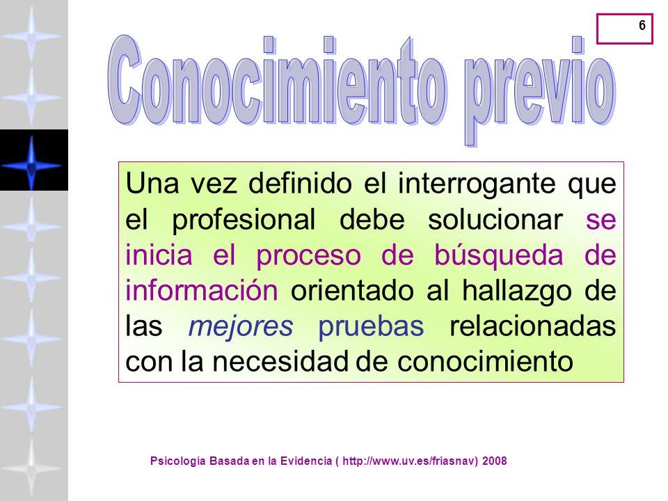 Psicología Basada en la Evidencia ( http://www.uv.es/friasnav) 2008 27 Anatomía de una investigación qué se investiga qué variables se han estudiado cómo se ha investigado
