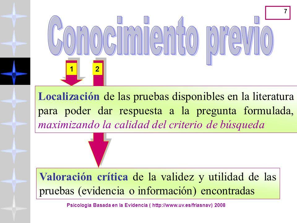Psicología Basada en la Evidencia ( http://www.uv.es/friasnav) 2008 18 Acceder a información válida y actual Y el profesional debe saber valorar de forma crítica la información que lee