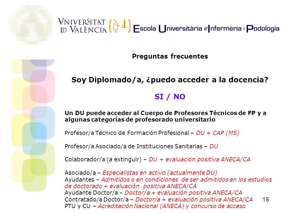 15 Preguntas frecuentes Soy Diplomado/a, ¿puedo acceder a la docencia? SI / NO Un DU puede acceder al Cuerpo de Profesores Técnicos de FP y a algunas