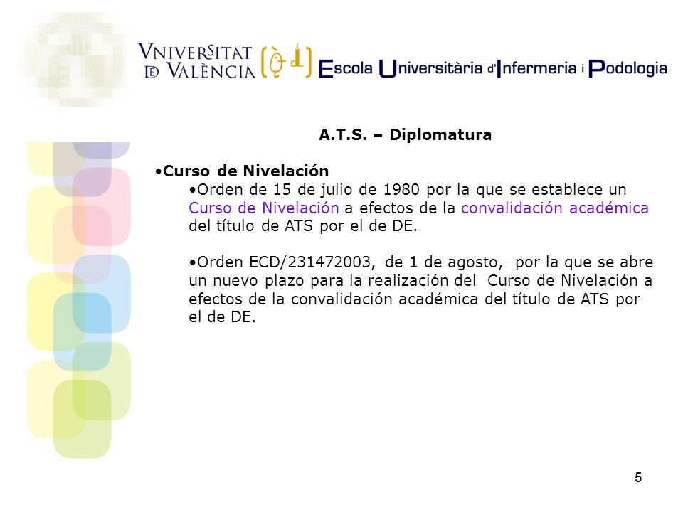 5 A.T.S. – Diplomatura Curso de Nivelación Orden de 15 de julio de 1980 por la que se establece un Curso de Nivelación a efectos de la convalidación a
