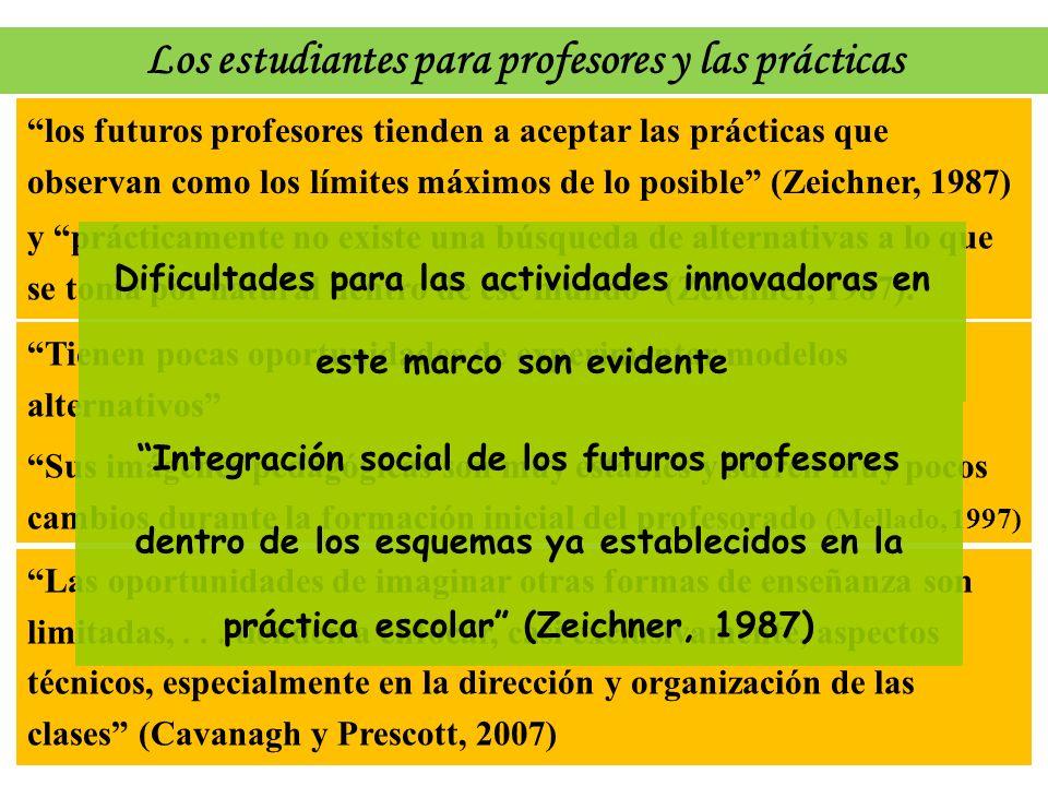 los futuros profesores tienden a aceptar las prácticas que observan como los límites máximos de lo posible (Zeichner, 1987) Tienen pocas oportunidades