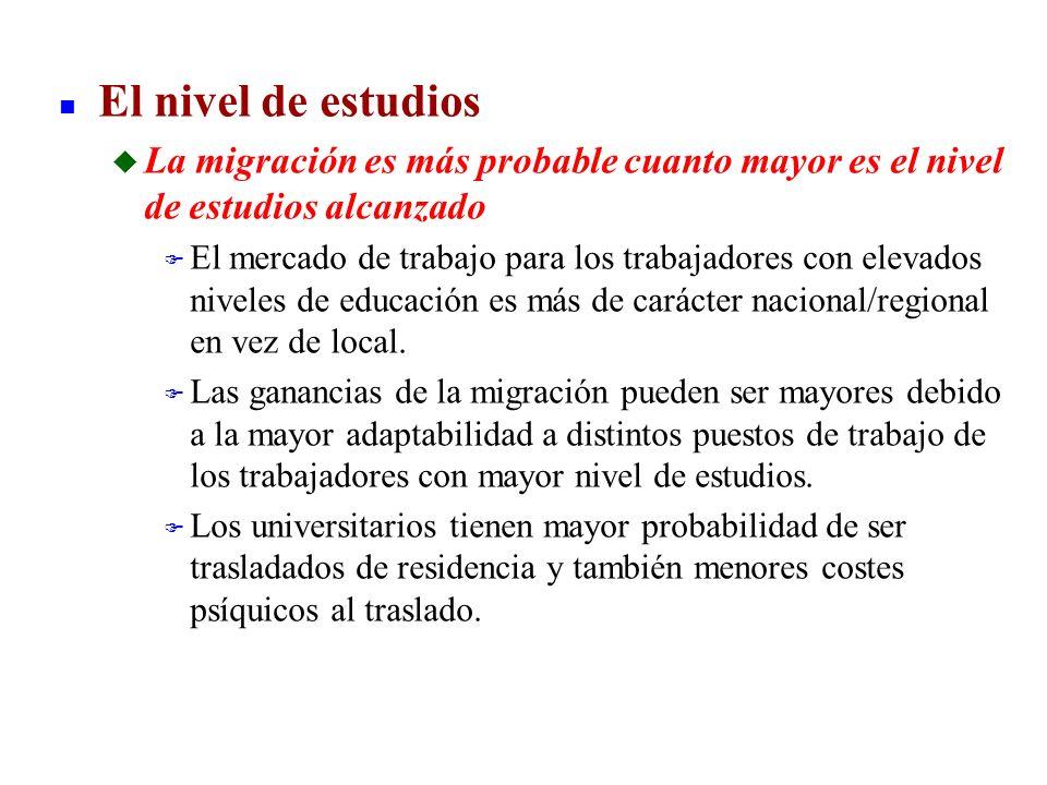 n El nivel de estudios u La migración es más probable cuanto mayor es el nivel de estudios alcanzado F El mercado de trabajo para los trabajadores con
