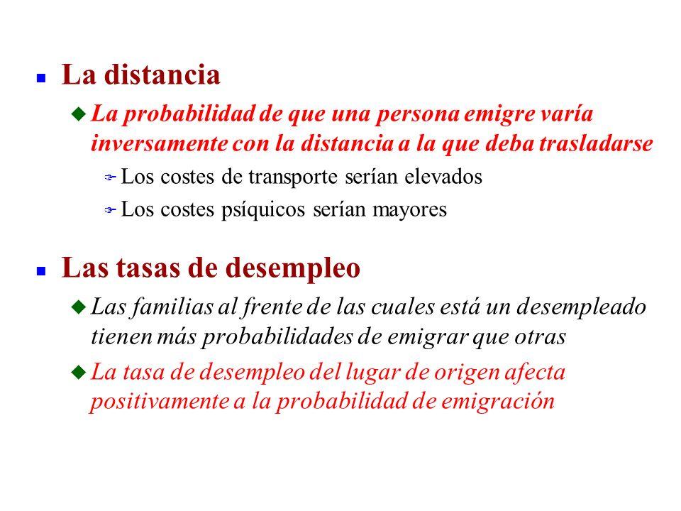 n La distancia u La probabilidad de que una persona emigre varía inversamente con la distancia a la que deba trasladarse F Los costes de transporte se