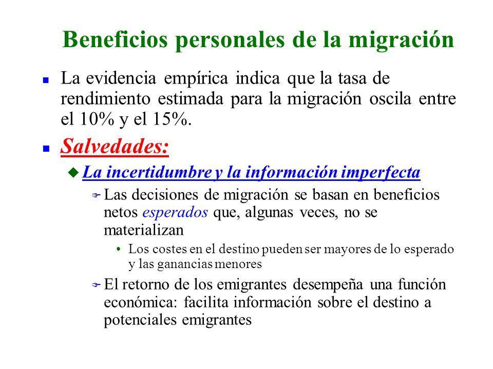 n La evidencia empírica indica que la tasa de rendimiento estimada para la migración oscila entre el 10% y el 15%. n Salvedades: u La incertidumbre y