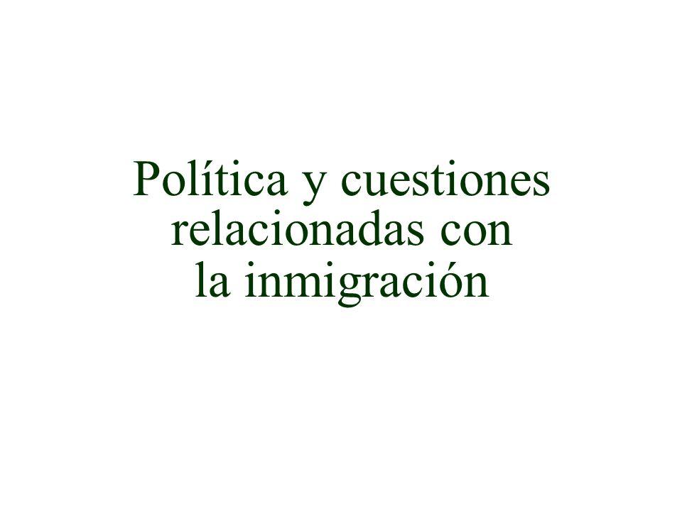 Política y cuestiones relacionadas con la inmigración