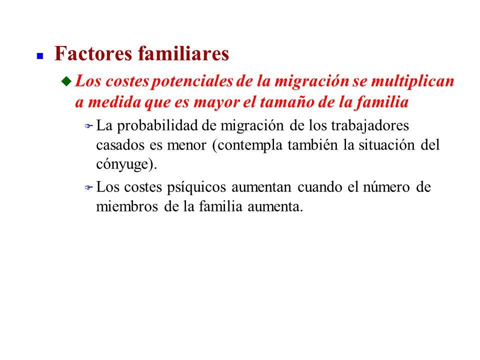 n Factores familiares u Los costes potenciales de la migración se multiplican a medida que es mayor el tamaño de la familia F La probabilidad de migra
