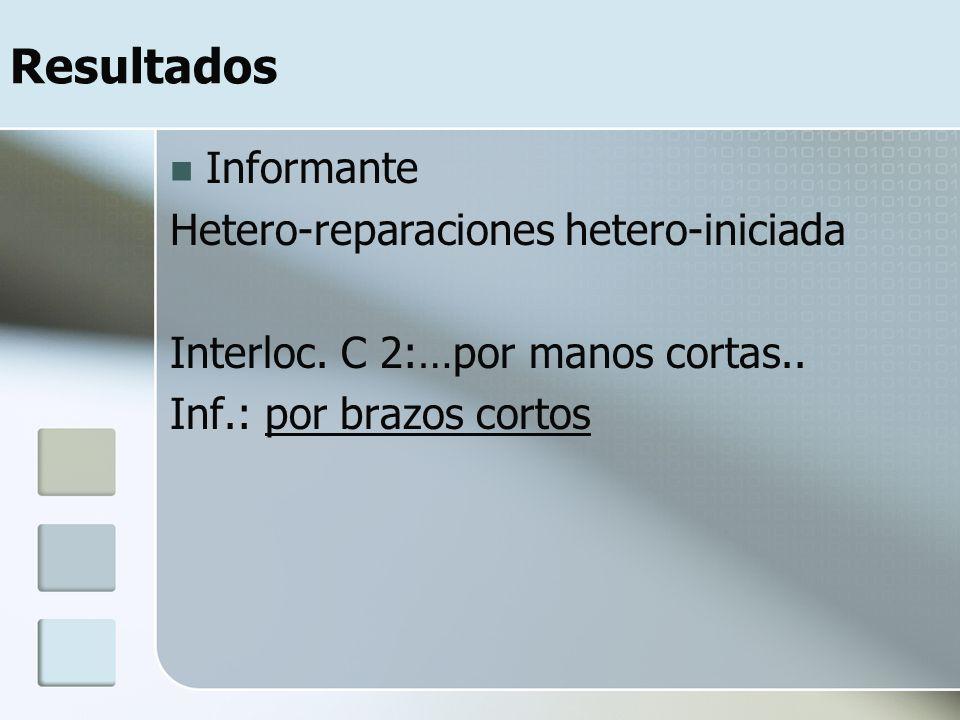Resultados Informante Hetero-reparaciones hetero-iniciada Interloc.